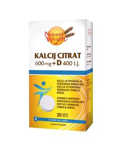 Natural Wealth Kalcij Citrat 600 mg + D 400 I.J.