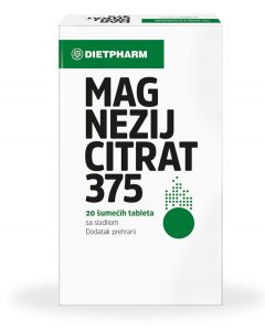 Dietpharm Magnezij citrat 375 šumeće tablete 20 šumećih tableta