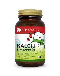 VONpharma KALCIJ & VITAMIN D3 60 tableta za žvakanje