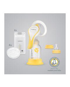 Harmony™ Essential Pack  Ručna izdajalica, PersonalFit Flex™ štitnik, vel. M (24 mm), bočica 150 ml s poklopcem, stalak za bočicu, silikonski sisač S veličine, 4 jednokratna jastučića za dojke, 4 vrečice za pohranu majčinog mlijeka, uputstva za upotrebu